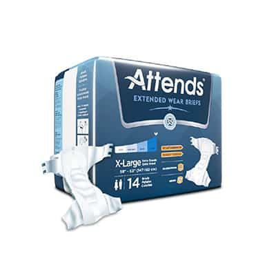 Attends Extended Wear Adult Incontinent Brief Tab Closure Heavy Absorbency X-Large - DDEW40 - 56/cs