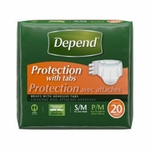 Depend Adult Incontinent Brief Tab Closure Small / Medium Disposable Heavy Absorbency - Case of 60