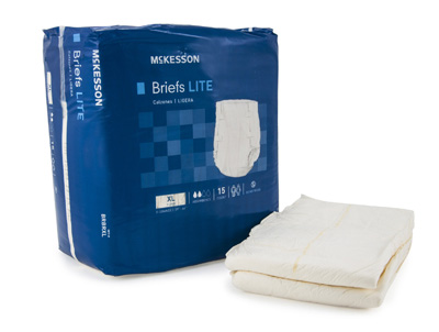 Adult Incontinent Brief McKesson Lite Tab Closure X-Large Disposable Light Absorbency