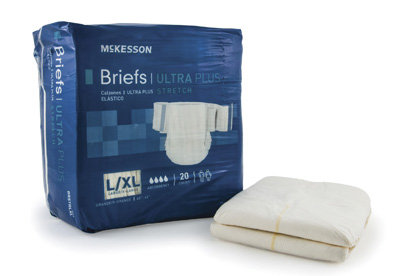 Adult Incontinent Brief McKesson Ultra Plus Stretch Tab Closure Large / X-Large Disposable Heavy Absorbency