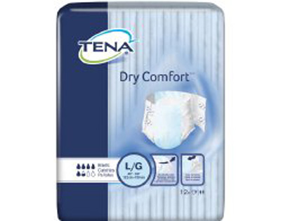 Adult Incontinent Brief TENA Dry Comfort Tab Closure Large Disposable Moderate Absorbency