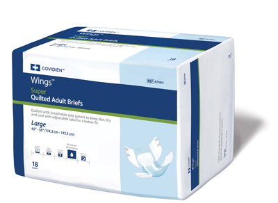 Covidien Wings Adult Incontinent Brief Super Tab Closure Large Disposable Heavy Absorbency - Covidien 87084 - Case of 72