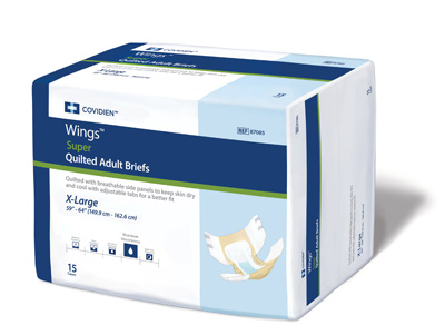 Covidien Wings Adult Incontinent Brief Super Tab Closure X-Large Disposable Heavy Absorbency - Covidien 87085 - Case of 60
