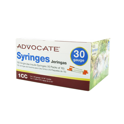 Advocate Syringe 30 Gauge 1 cc 5/16 in 100 ct - Model: 604