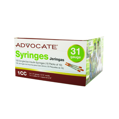 Advocate Syringe 31 Gauge 1 cc 5/16 in 100 ct - Model: 610