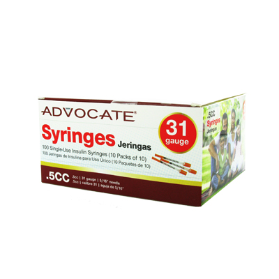 Advocate Syringe 31 Gauge .5 cc 5/16 in 100 ct - Model: 612