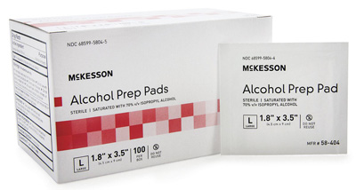 Alcohol Prep Pad McKesson Isopropyl Alcohol, 70% Individual Packet Large, 3.5 L X 1.7 H Inch Sterile
