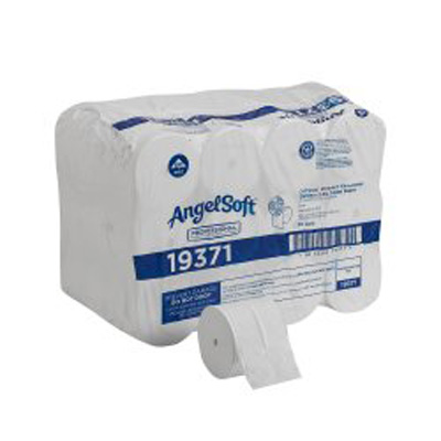 Angel Soft Professional Series Compact Toilet Tissue White 2-Ply Standard Size Coreless Roll 750 Sheets 3.85 X 4.05 Inch - Case of 36