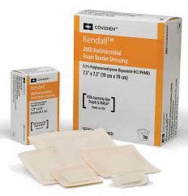 Antimicrobial Foam Dressing Kendall AMD 3-1/2 X 3-1/2 Inch Square Adhesive with Border Sterile
