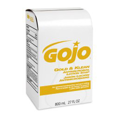Antimicrobial Soap GOJO Gold & Klean Lotion 800 mL Bag-in-Box Fresh Balsam Scent