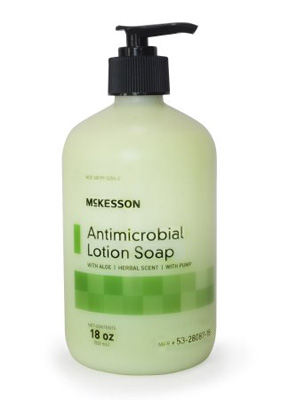 Antimicrobial Soap McKesson Lotion 18 oz. Pump Bottle Herbal Scent