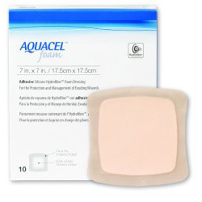 Aquacel Silicone Foam Dressing 7 x 7 in Square Adhesive with Border Sterile