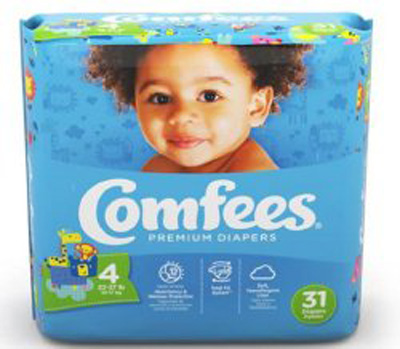 Baby Diaper Comfees Tab Closure Size 4 Disposable Moderate Absorbency