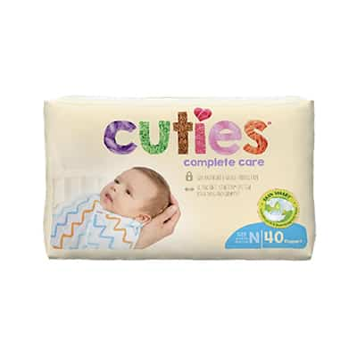 Baby Diaper Cuties Complete Care Tab Closure Size 0 Disposable Heavy Absorbency