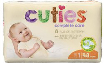 Cuties Complete Care Baby Diaper Tab Closure Size 1 Disposable Heavy Absorbency - CCC01 - Case of 192