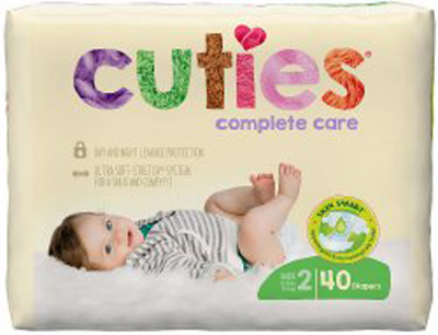 Baby Diaper Cuties Complete Care Tab Closure Size 2 Disposable Heavy Absorbency