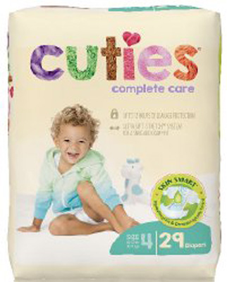 Baby Diaper Cuties Complete Care Tab Closure Size 4 Disposable Heavy Absorbency