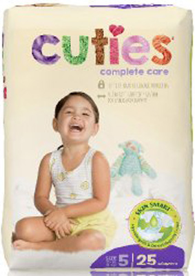 Baby Diaper Cuties Complete Care Tab Closure Size 5 Disposable Heavy Absorbency