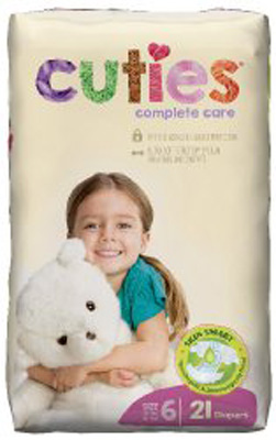 Baby Diaper Cuties Complete Care Tab Closure Size 6 Disposable Heavy Absorbency