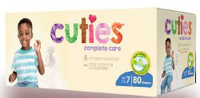 Baby Diaper Cuties Complete Care Tab Closure Size 7 Disposable Heavy Absorbency