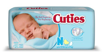 Baby Diaper Cuties Tab Closure Newborn Disposable Heavy Absorbency