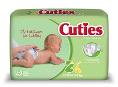 Baby Diaper Cuties Tab Closure Size 2 Disposable Heavy Absorbency