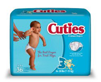 Baby Diaper Cuties Tab Closure Size 3 Disposable Heavy Absorbency