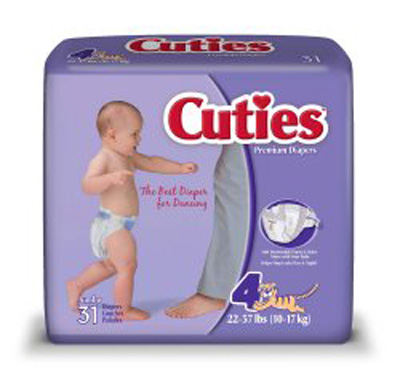 Baby Diaper Cuties Tab Closure Size 4 Disposable Heavy Absorbency