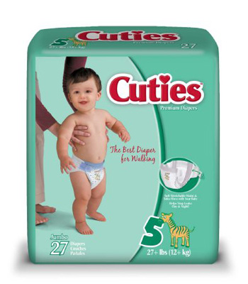 Baby Diaper Cuties Tab Closure Size 5 Disposable Heavy Absorbency