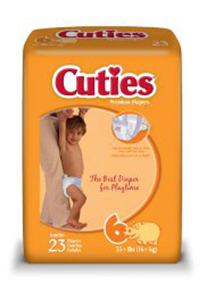 Baby Diaper Cuties Tab Closure Size 6 Disposable Heavy Absorbency