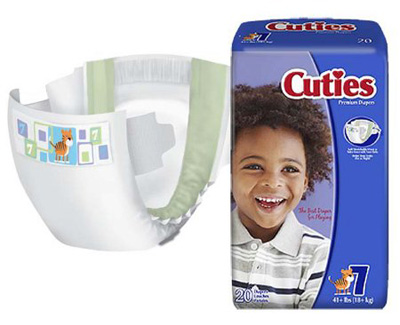 Baby Diaper Cuties Tab Closure Size 7 Disposable Heavy Absorbency