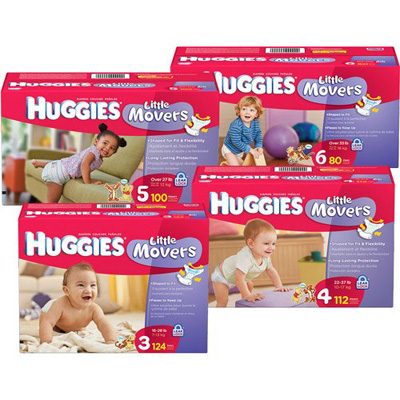 Baby Diaper Huggies Little Movers Tab Closure Size 4 Disposable Heavy Absorbency