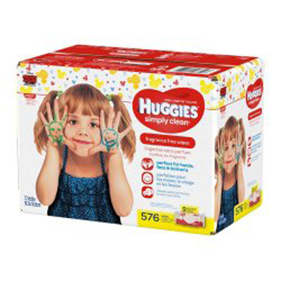 Baby Wipe Huggies Simply Clean Soft Pack Water / Caprylyl Glycol / Aloe / Vitamin E Unscented 576 Count