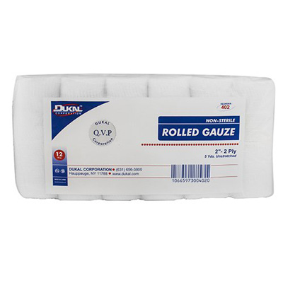 Dukal Bandage Roll Cotton Gauze 2-Ply 2 Inch Roll NonSterile - Case of 96