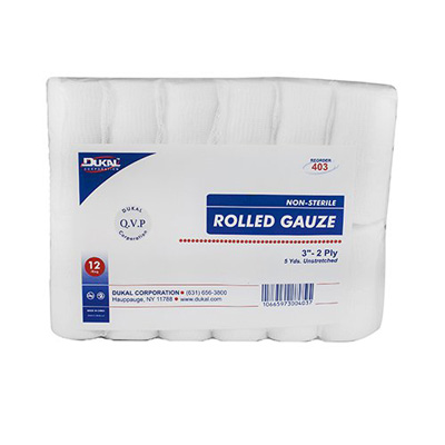 Dukal Bandage Roll Cotton Gauze 2-Ply 3 Inch Roll NonSterile - Case of 96