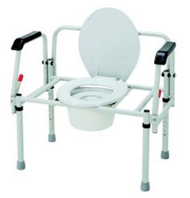 Bariatric Commode Chair Fixed Arm Steel Frame 16.5 to 22.5 Inch