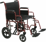 Drive Medical Bariatric Heavy Duty Blue Transport Wheelchair with Swing Away Footrest Model btr22-b