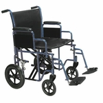 Drive Medical Bariatric Heavy Duty Blue Transport Wheelchair with Swing Away Footrest Model btr20-b