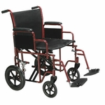 Drive Medical Bariatric Heavy Duty Red Transport Wheelchair with Swing Away Footrest Model btr20-r