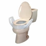 Bath Safe Raised Toilet Seat with Arms 4 in Brown 300 lbs.