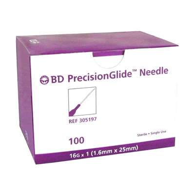 BD PrecisionGlide Needle - 16G x 1 in - Model 305197 - 100 Needles