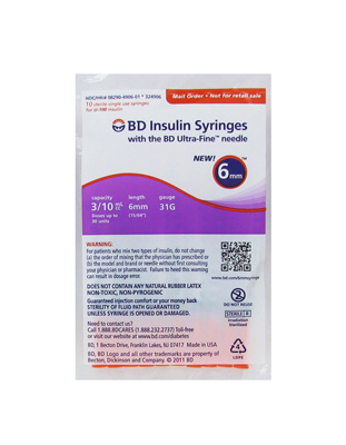 BD Ultra-Fine Insulin 31 Gauge 3/10 cc 15/64 in (6 MM) - 10 ea 324906
