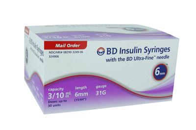 BD Ultra-Fine Insulin Syringe 31 Gauge 3/10 cc 15/64 inch (6 MM)  - 90 ea