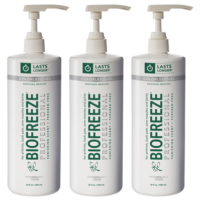 Biofreeze Professional Pain Relieving Gel, Colorless Pump - 32 oz - 3 Pack