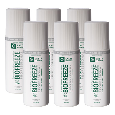 Biofreeze Professional Pain Relieving Gel, Colorless Roll-On - 3 oz - 6 Pack