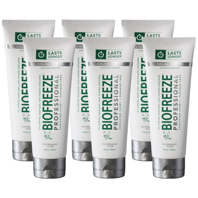 Biofreeze Professional Gel, Colorless Tube - 4 oz - 6 Pack