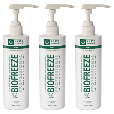 Biofreeze Professional Gel, Green Pump - 16 oz - 3 Pack