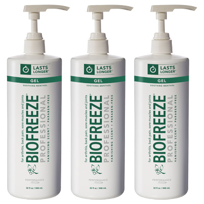 Biofreeze Professional Gel, Green Pump - 32 oz - 3 Pack