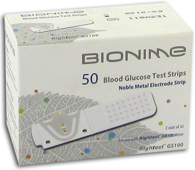 Bionime Rightest GS100 Blood Glucose Test Strips - 50 Strips Expires June 2018