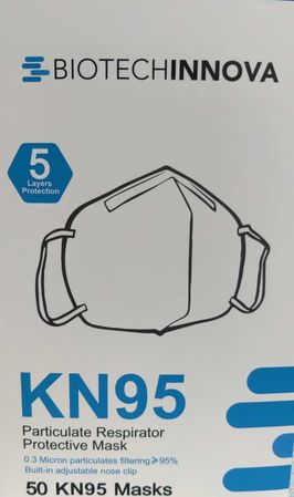 Biotechinnova KN95 Particulate Respirator Protective Masks (50 Pack) - Model TMD-KN95